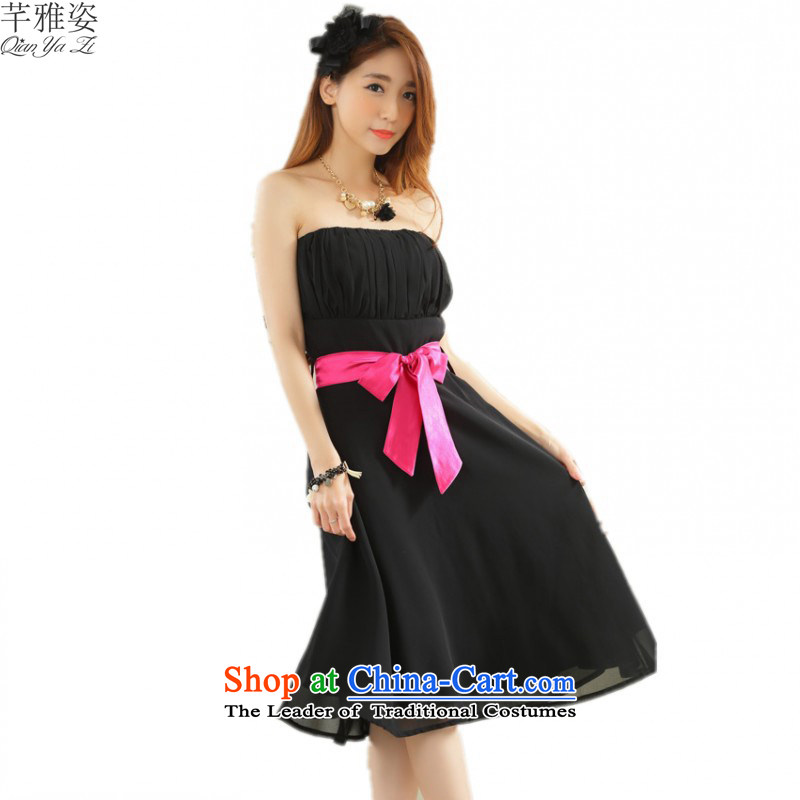 C.o.d. 2015 new summer pure color chiffon anointed chest dresses xl elegance sweet Top Loin dress white dress bow tie black skirt?XXL?about 140-160 characters catty