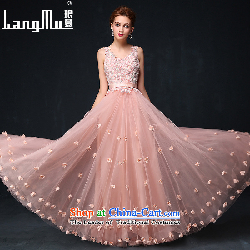 The new 2015 Luang evening dresses, long gown bride red toasting champagne banquet service annual summer pink dresses small?M