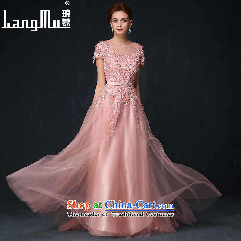 The dress Luang in summer and autumn 2015 new Korean bridal dresses posted drill flowers long skirt dresses evening banquet bare pink S