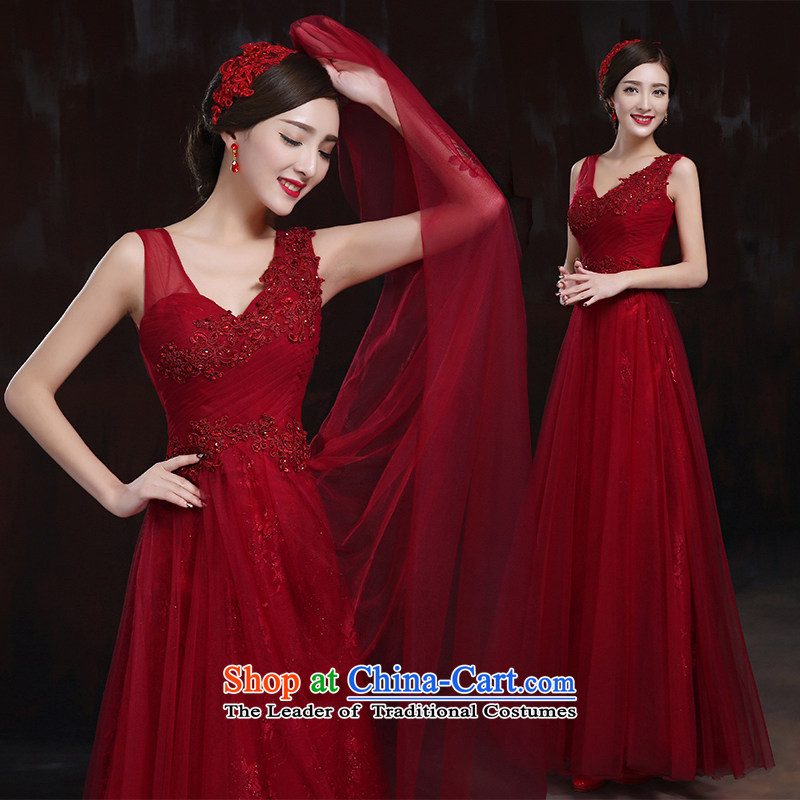 Pure Love bamboo yarn lace wedding dresses bride red wedding slotted shoulder wedding package wedding dresses shoulder straps Summer 2015 Spring, dark red S