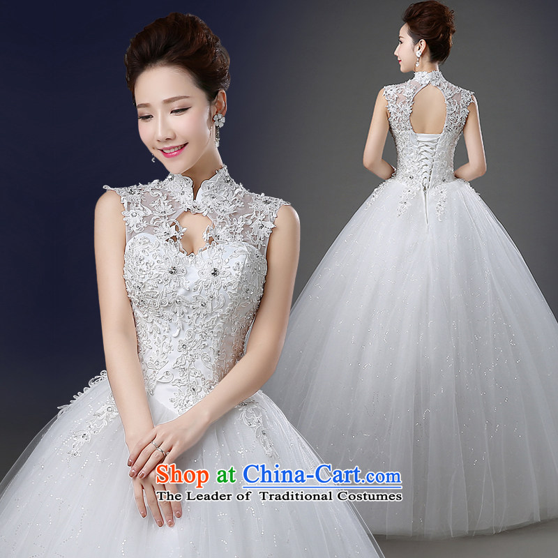 The first field shoulder wedding spring and summer load to align the new 2015 collar bride wedding dress lace large tie Diamond White?L