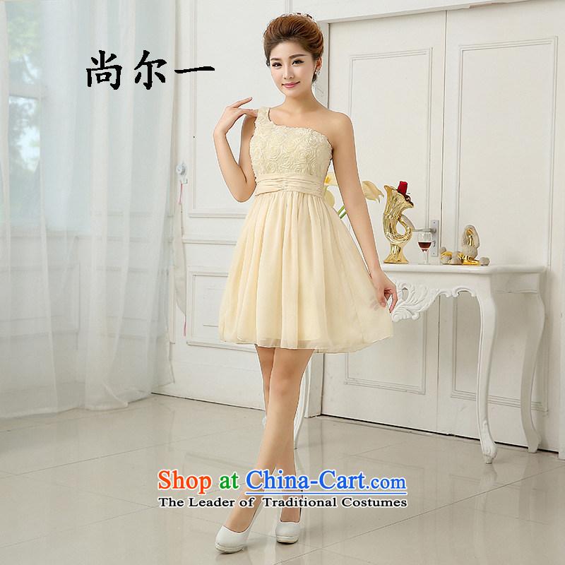 Yet, a short of bridesmaid dress sister States shoulder Beveled Shoulder bridesmaid services princess bon bon skirt small dress 6416 champagne color are code