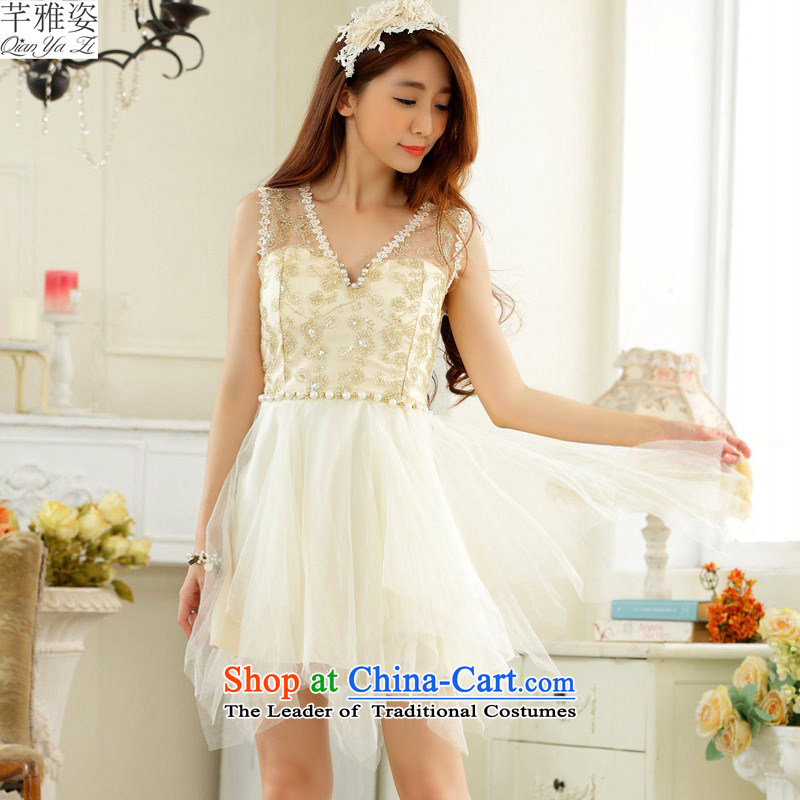 C.o.d. 2015 New Korea back with V-Neck lace dresses xl stylish Sweet dress web irregular petticoats video thin dress thick m champagne color?XXL?approximately 140-160 characters catty