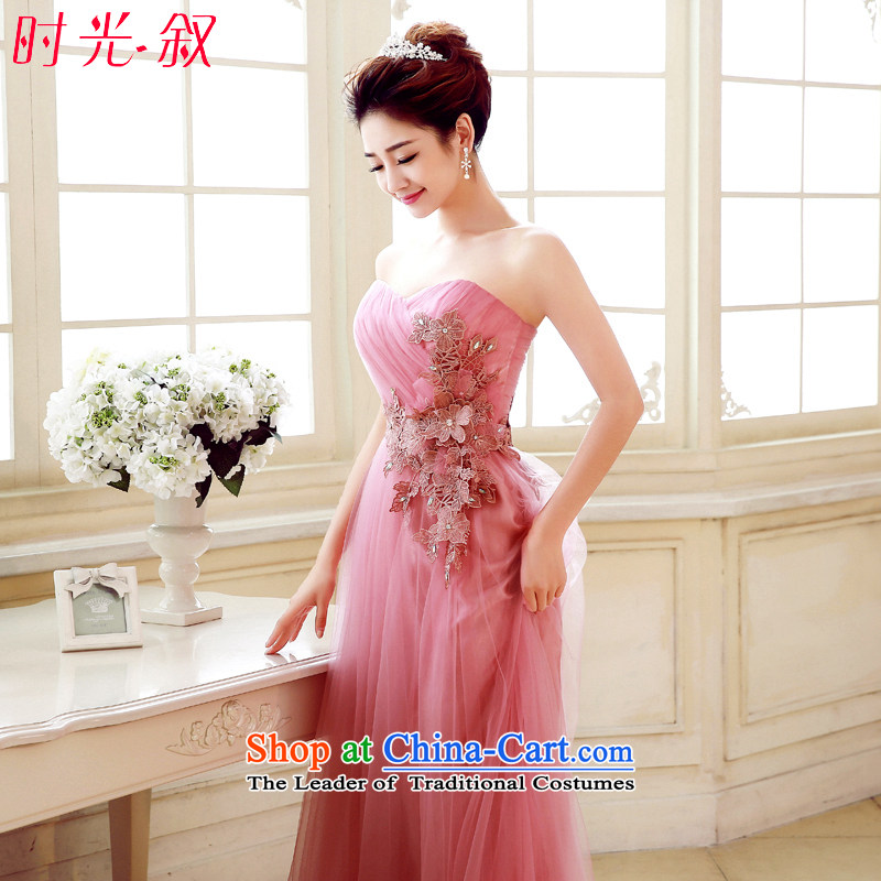 Time the new Syrian bridesmaid dresses, long skirt bride toasting champagne sister pink uniforms and chest bridesmaid skirt evening dress small dress sister mission banquet betrothal pink L