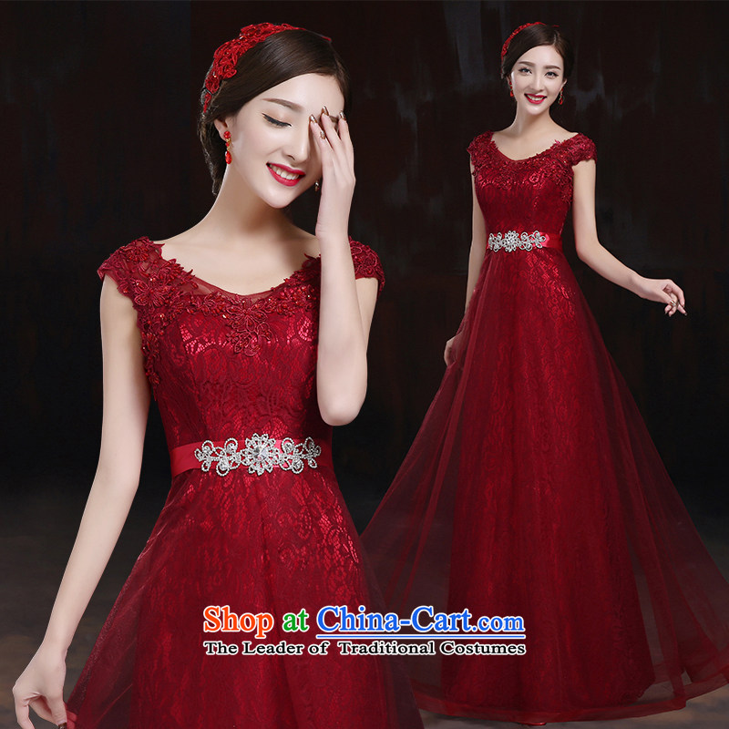 However Service Bridal Fashion 2014 new marriage shoulders red dress long under the auspices of Sau San dress female dark red?XL