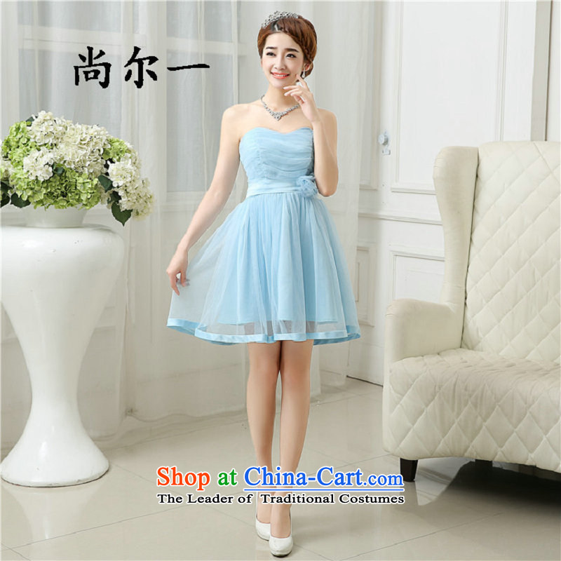 Yet, a short of bridesmaid dress?2015 Spring/Summer Wedding banquet new evening dresses and sisters graduated in 6501 with a light blue skirt dress code is