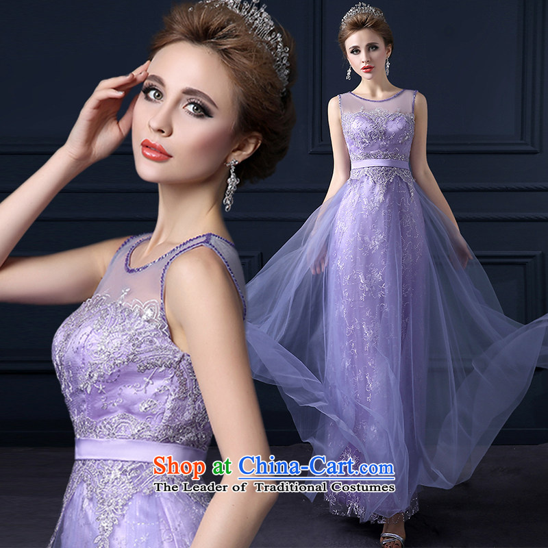 The leading edge of the Formosa lily wedding dresses 2015 new marriages bows to Korean word will shoulder graphics thin lace long gown banquet service sweet bridesmaid serving a light purple XXL