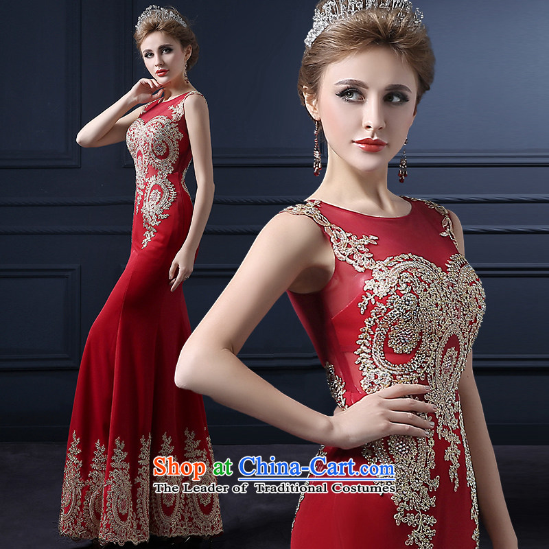 The leading edge of the Formosa lily wedding dresses 2015 autumn and winter new bride bows services Korean dress and annual meeting packages video thin ball dress luxurious banquet service long red deep red M