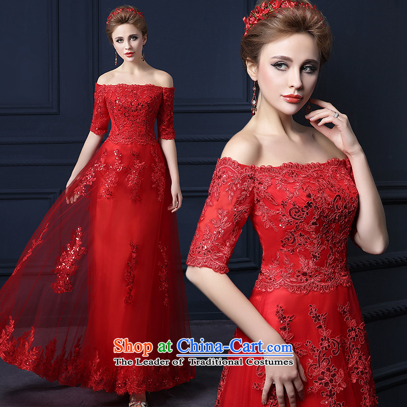 The leading edge of the Formosa lily wedding dresses new Word 2015 winter shoulder Korean lace evening dress marriages bows stylish Sweet will serve banquet service bridesmaid red Advanced Customization Services