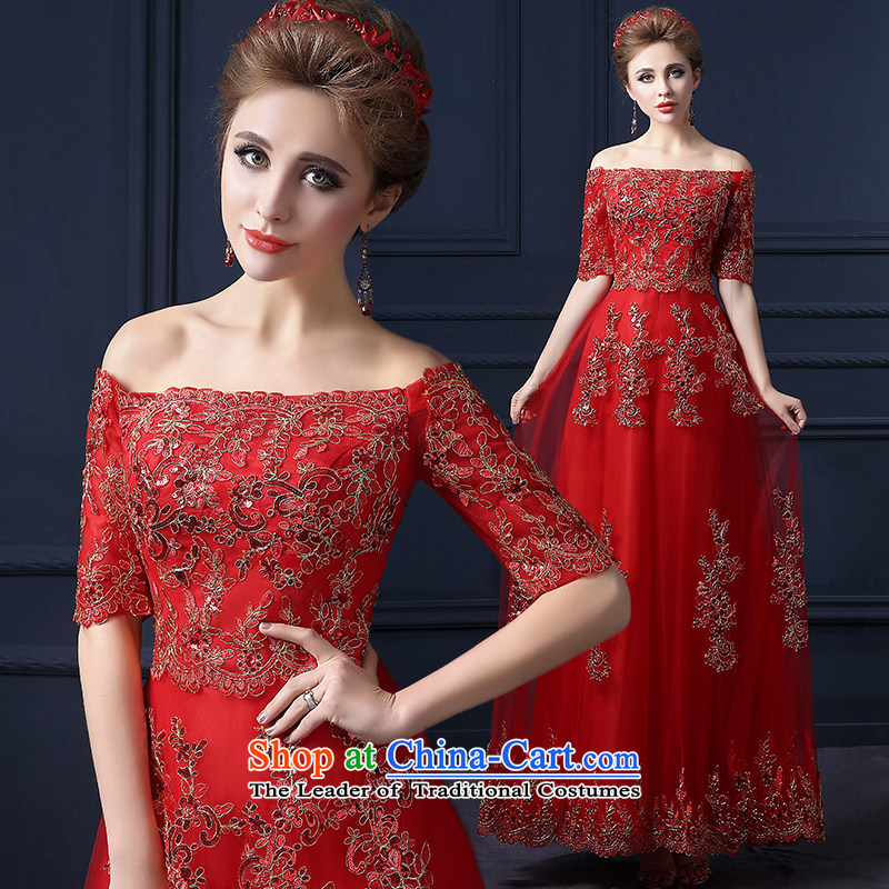 The leading edge of the Formosa lily wedding dresses 2015 winter new word shoulder dress Korean Sau San lace marriages bows service banquet dress red long bridesmaid services red XXL