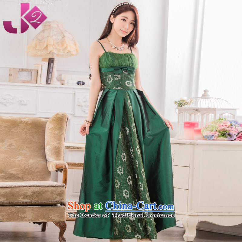 2015 Summer JK2 new stylish evening dinner show long gown xl strap dresses green?XXL recommendations about 155