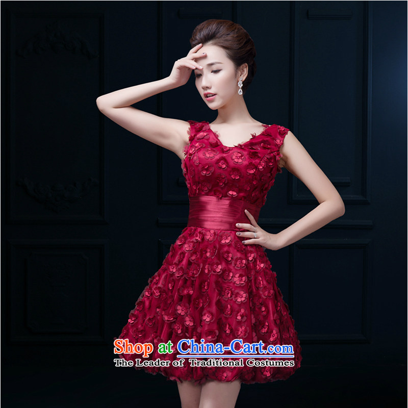 The first white into about bride bows Services Mr Ronald 2015 Spring Red Dress Short of marriage shoulders bridesmaid small dress banquet female wine red?XXL