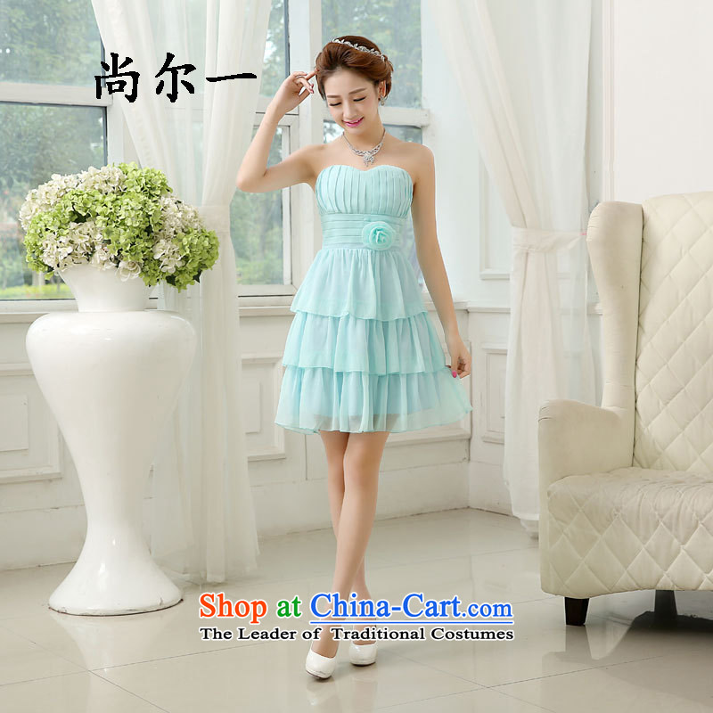 Yet, a new dress bridesmaid 2015 spring_summer short of Sau San bridesmaid mission dress bridesmaid sister skirt annual service dress code is 6510 Light Blue