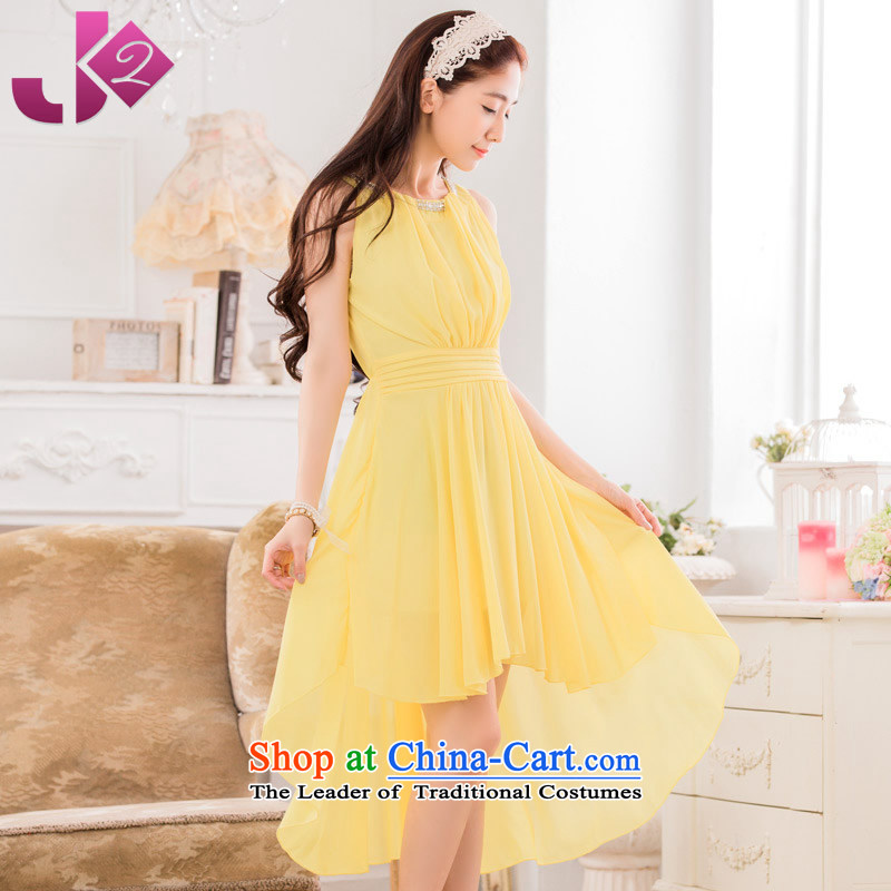Before the new 2015 JK2 after short long frock coat sweet graphics large thin dress skirt sleeveless chiffon dresses yellow?XXXL around 922.747 recommendation 170