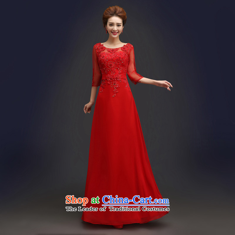 Each red bride wedding dresses Connie?2015 Summer trendy new of Chinese in cuff tie long service female Red Sau San bows?M