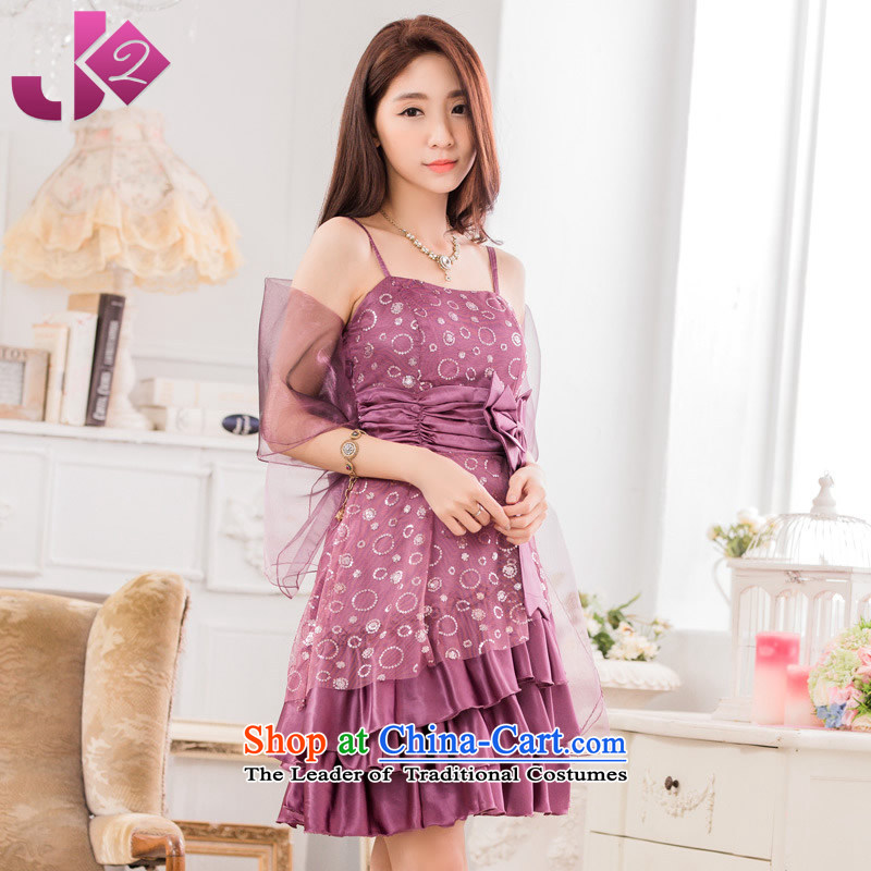 2015 Summer JK2 new hosted a evening dress skirt Fashion on large code bridesmaid services strap dresses purple?XXXL?around 922.747 recommendation 170
