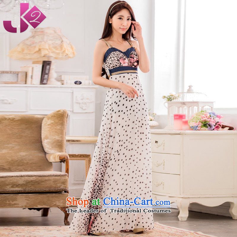 Jk2?summer new long concert evening dresses under the auspices of XL wave point stamp chiffon straps connected yi long skirt purple?XXL recommendations about 160
