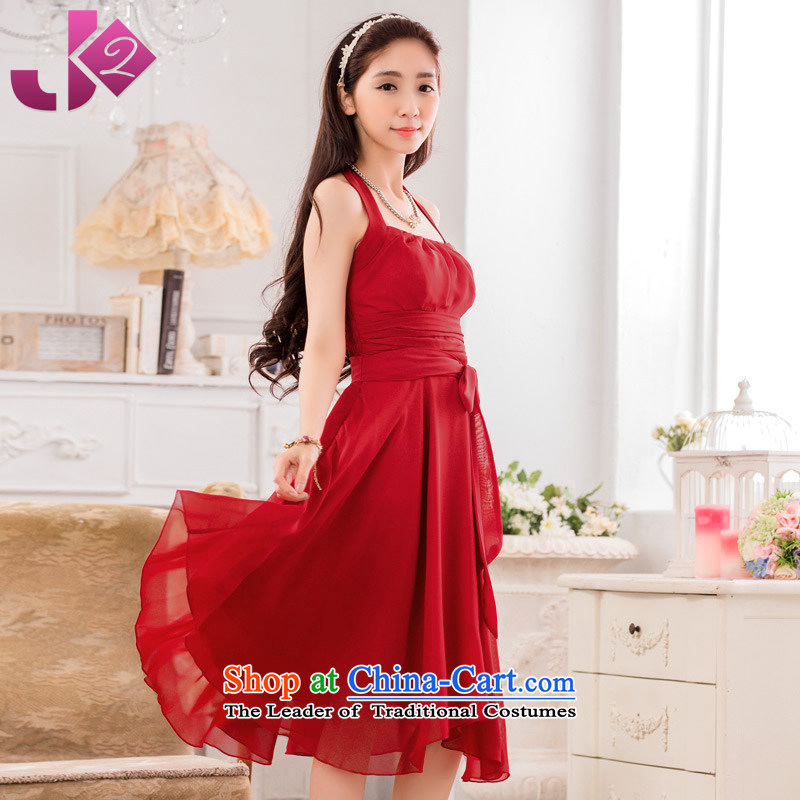 2015 Summer stylish look JK2 hang in the establishment of a long history of dress, solid color Large Dinner Show Services chiffon dresses scarlet?XXL