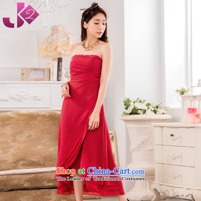 2015 new large JK2 code solid color with long dresses skirts chest temperament minimalist graphics thin chiffon long skirt suits scarlet are code around 922.747 recommended 100