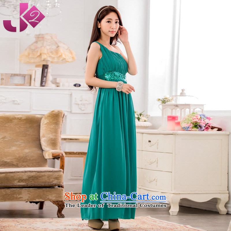 Click the new 2015 JK2 shoulder Foutune of graphics performance under the auspices of the thin long evening dress xl chiffon Lien Yi long skirt green?XL recommendations about 130