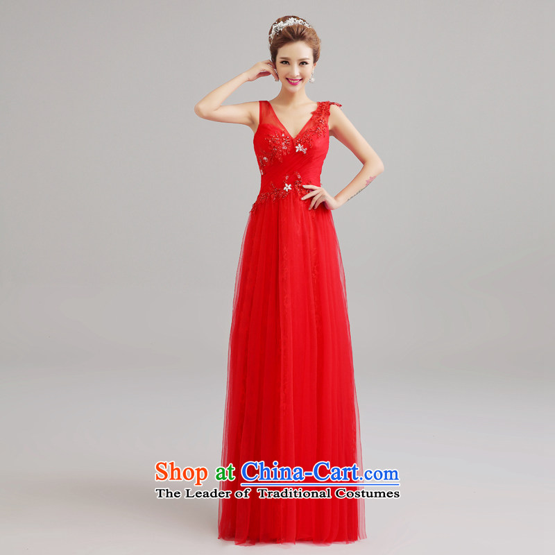 Every聽2015 Spring_Summer Connie red wedding dresses shoulders bows Korean married long graphics thin long skirt marriage lace evening dress red tailored does not allow
