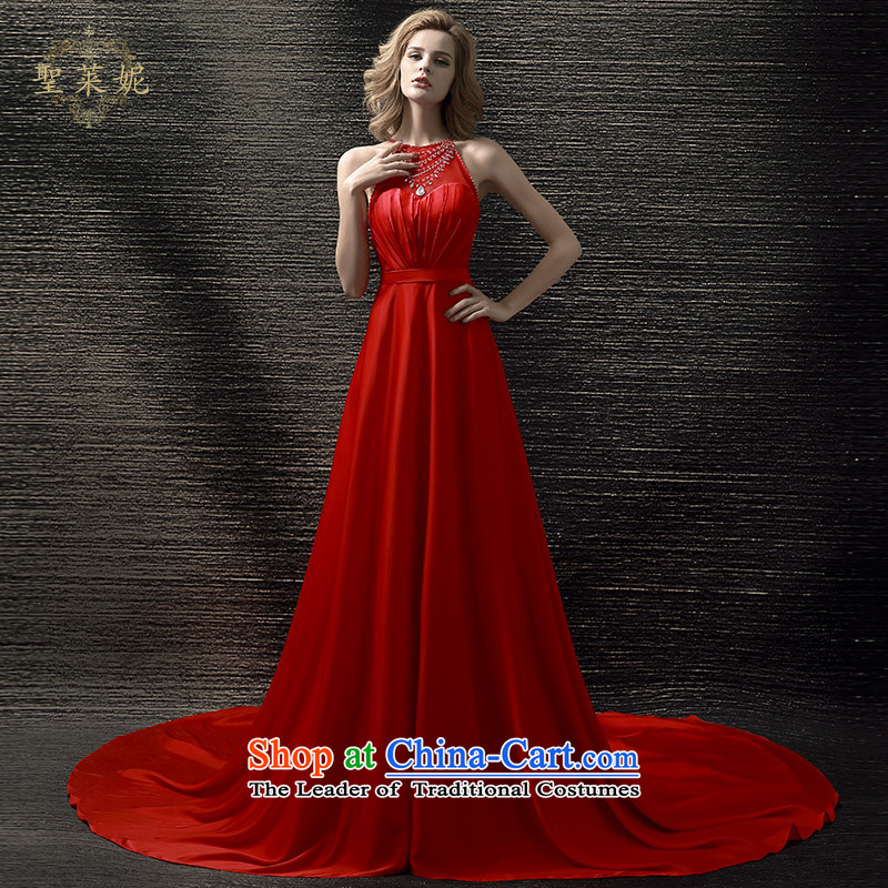 The Holy her wedding dresses Summer 2015 new red crowsfoot bride bows dress large Ms. large tail bride skirt RED?M