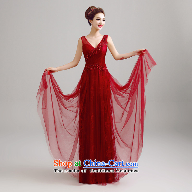 Each Connie wine red reception banquet evening dresses 2015 Summer shoulders Sau San long stylish wedding dresses brides web services LF0016 drink wine red tailored does not allow
