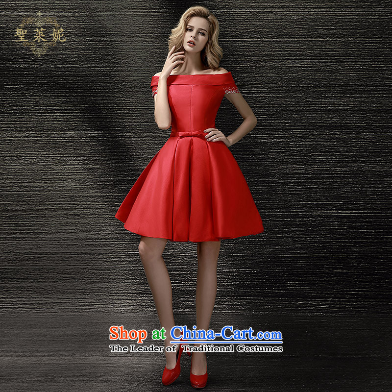 The Holy her wedding dress 2015 new bride services of the word bows shoulder Female dress short of red Summer Wedding evening dresses wedding red XL
