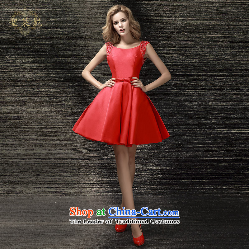 The Holy her wedding dresses Summer 2015 new bride Wedding Dress Short of shoulders red dress uniform dress bows RED?M