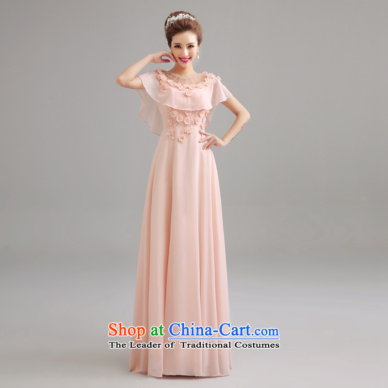 Every bride pink Connie back flowers marriage evening dress red wedding services wedding long) bows?2015 NEW LF0019 meat pink?XXL