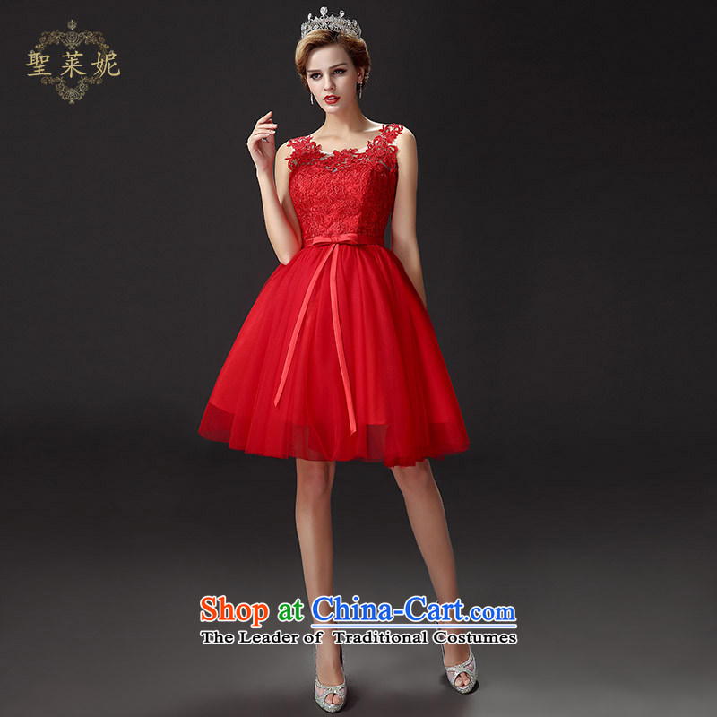 The Holy her wedding dress bride evening dresses聽2015 Spring_Summer new red short of married women wedding lace bridesmaid bows services red聽S service