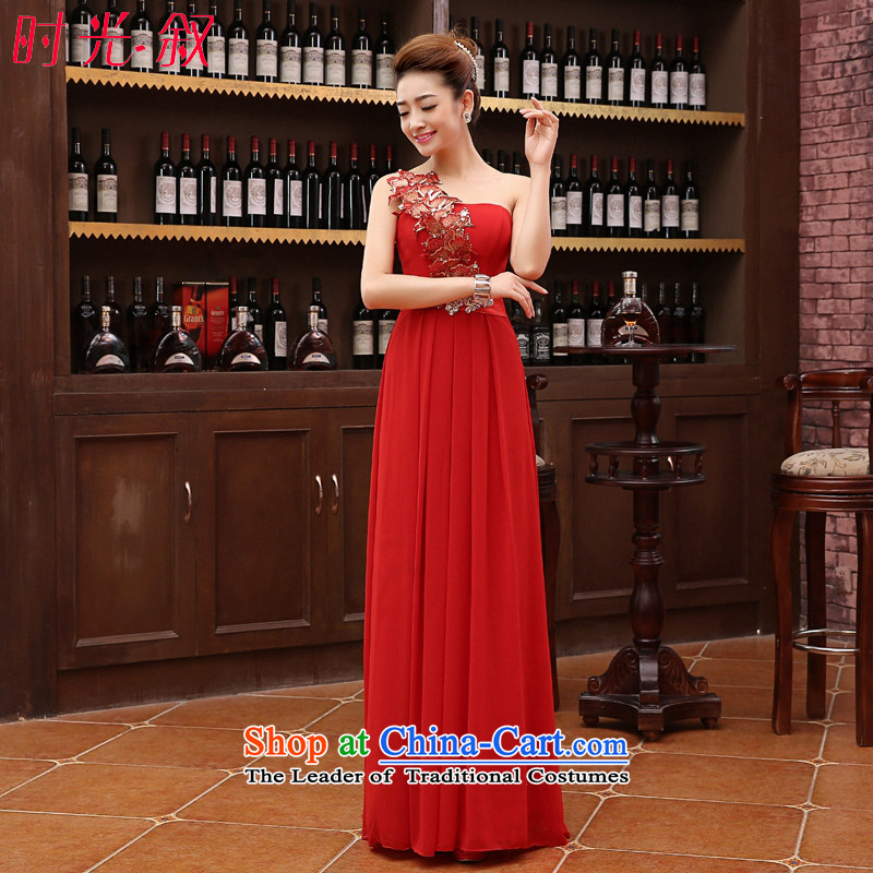 Time Syrian evening dresses 2015 annual meeting of the persons chairing the new long red evening of married women serving drink shoulder evening dress graduated dress skirt red?XL