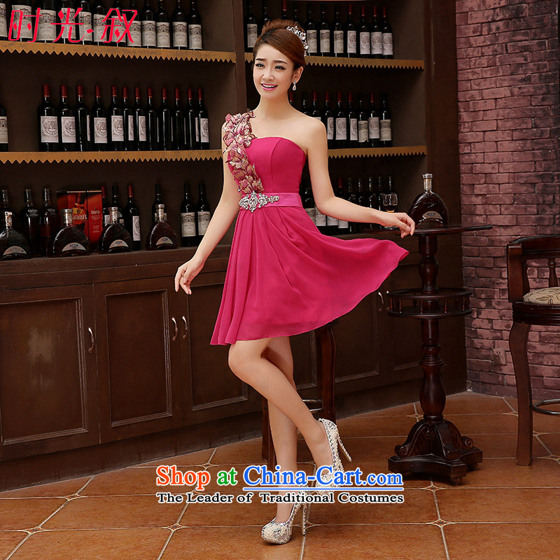 The time?of the Korean version of the Syrian 2015 Red single shoulder small dress bride wedding dress red bows services bridesmaid service, evening dresses in the evening banquet RED?M