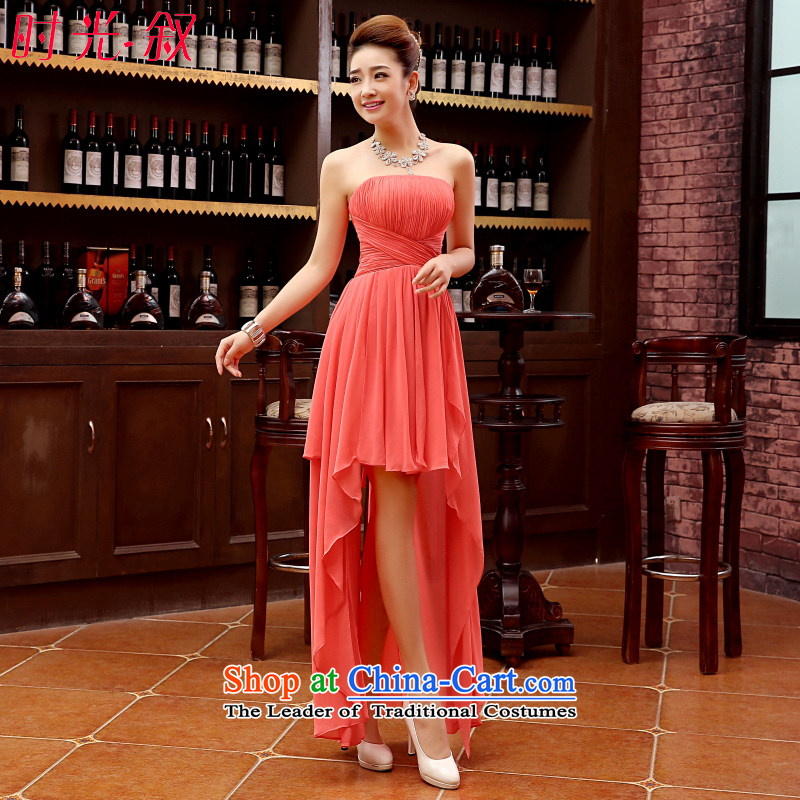 After a short time before the Syrian gown sexy Snow woven skirts and ribbons chest straps small dress bridesmaid dress short skirts, marriages bows services evening dresses watermelon red�S