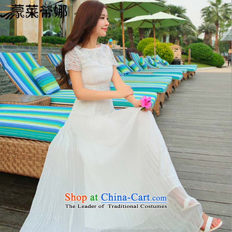 The 2015 Dili Blair and a new summer for women Lace Embroidery short-sleeved white dresses like Susy Nagle dragging evening dress 8127 White?M