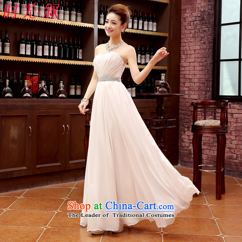 Time The new bride 2015 Syria bows to marry a pregnant woman dress bridesmaid service long champagne color bridesmaid mission sister dress skirt sister skirt female m White XL