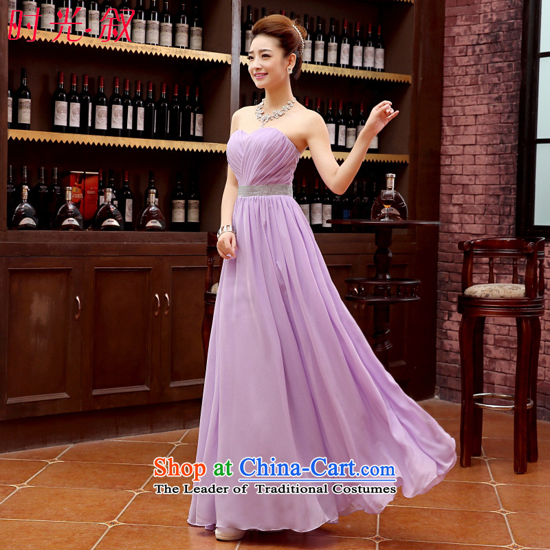 Time in Syria bridesmaid dress long 2015 new wiping the chest straps bows services bridesmaid skirt sister skirt performances dress bridesmaid gown evening dress female light purple?XXL