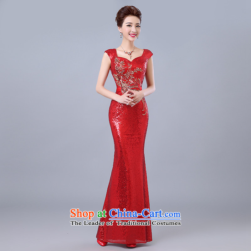 Yi Sang-wedding dresses love spring and summer 2015 new marriages bows to Korean dress stylish banquet shoulders and sexy on chip evening dresses female red?XXL