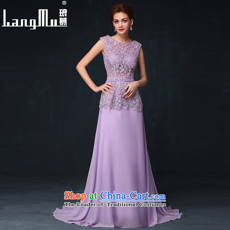 The dress Luang in summer and autumn 2015 new Korean flower marriages bows service banquet long evening dress with a light purple�S