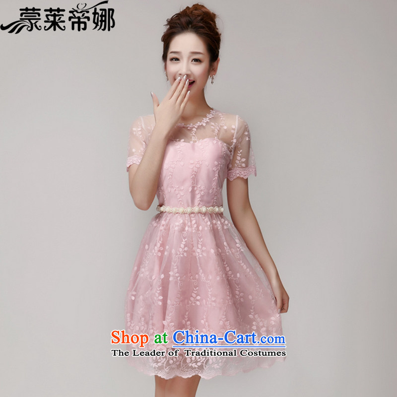 The 2015 Dili Blair Monrovia summer new lace hook flower engraving gauze manually staple Pearl Princess dresses dress skirt 621 pink�S