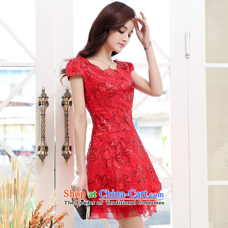Upscale dress 2015 Summer large red lace dresses short-sleeved gown in bride long skirt Sau San video thin princess wedding dress bon bon skirt red L