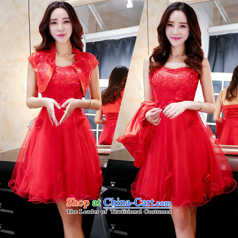 Upscale dress 2015 Summer red bridal dresses dress strap small shawl two kits bon bon skirt lace princess skirt banquet wedding dress red L