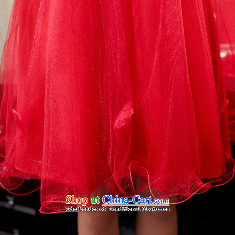 Upscale dress 2015 Summer red bridal dresses dress strap small shawl two kits bon bon skirt lace princess skirt banquet wedding dress red L,uyuk,,, shopping on the Internet