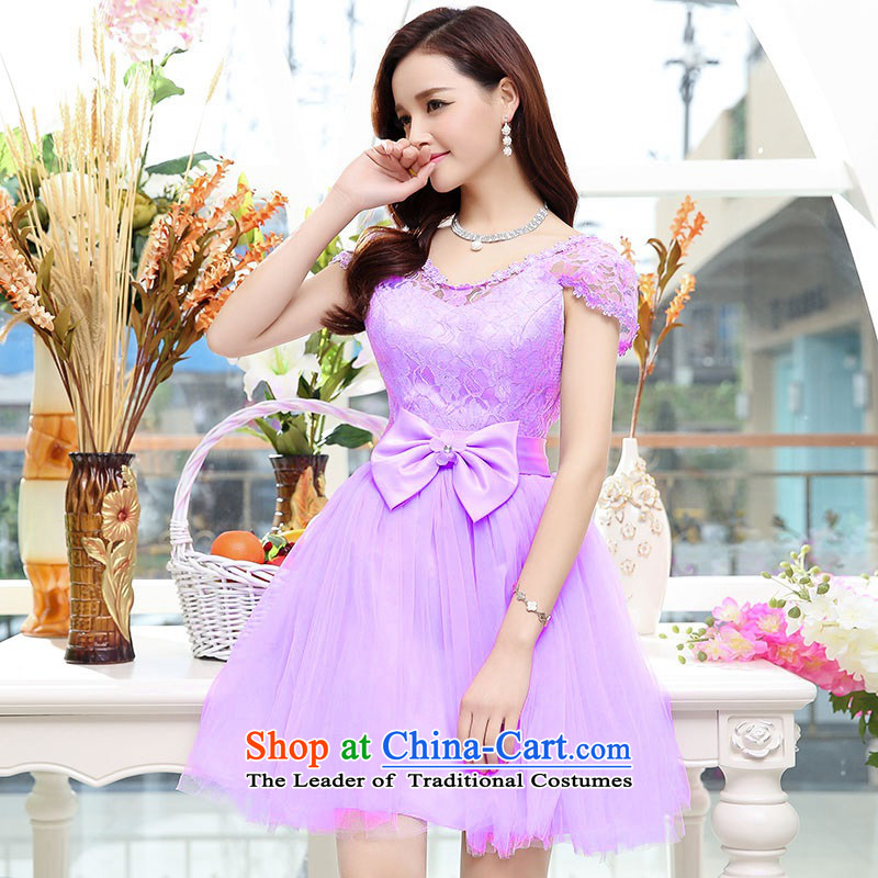 Upscale dress�Summer 2015 new twine bow knot dresses dress lace princess skirt elegant ladies bon bon skirt banquet dress purple�S