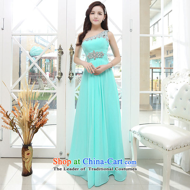 Upscale dress�Summer 2015 new ultra long skirt dress single Shoulder Strap-to-ceiling petticoats evening dresses water green�XL