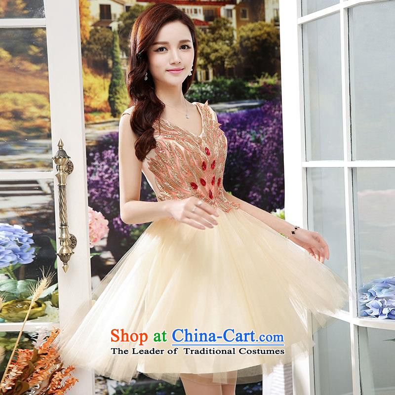 Upscale dress�Summer 2015 new dresses dress sleeveless lace bon bon skirt lady princess skirt wedding banquet apricot�L