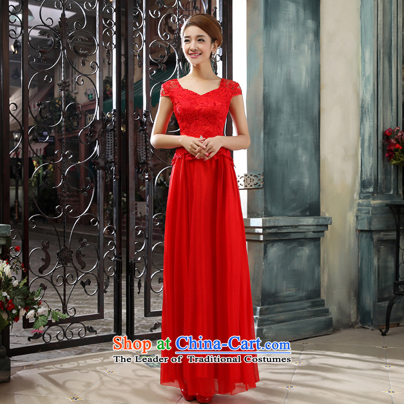 Every bride bows services Connie wedding dresses聽Summer 2015 new wedding dress red double-shoulder straps gathering banquet evening dresses long red聽XXL