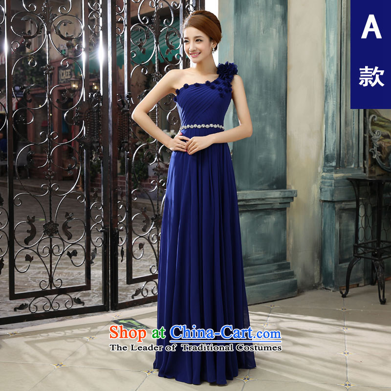 Each�new 2015 Connie shoulder blue dress long annual shoulders in summer and autumn Sau San chaired the banquet were girls�A dress��M