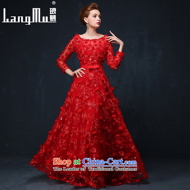 The dress Luang in summer and autumn 2015 new Korean flower marriages bows service banquet long evening dress chinese red?M