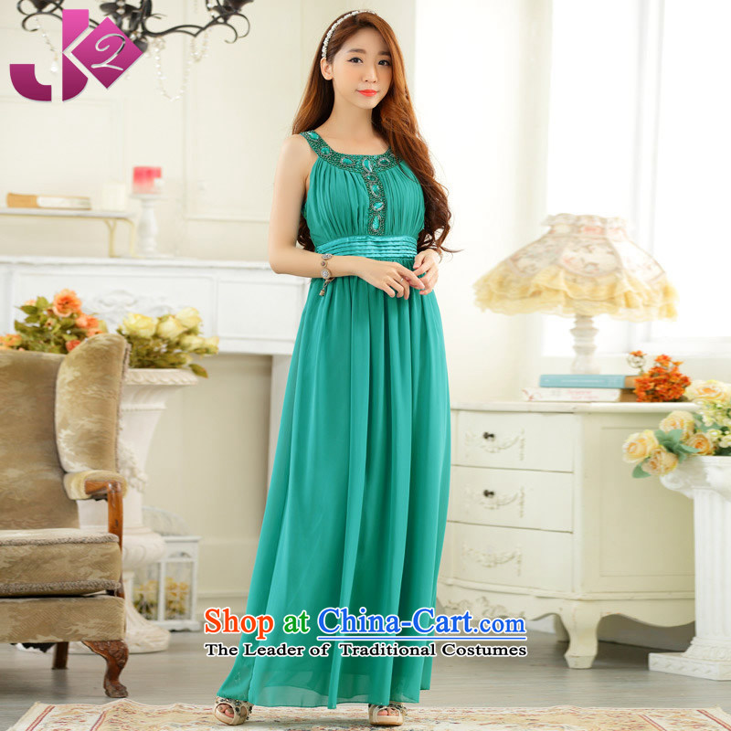 The new summer 2015 JK2 annual meeting under the auspices of evening hand nailed bead sleeveless larger long gown chiffon dresses green. 2XL recommendations about 155.